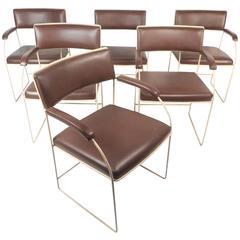 Set of Six Mid-Century Modern Vinyl Chairs