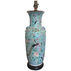 Large Famille Verte Vase, Now as a Lamp