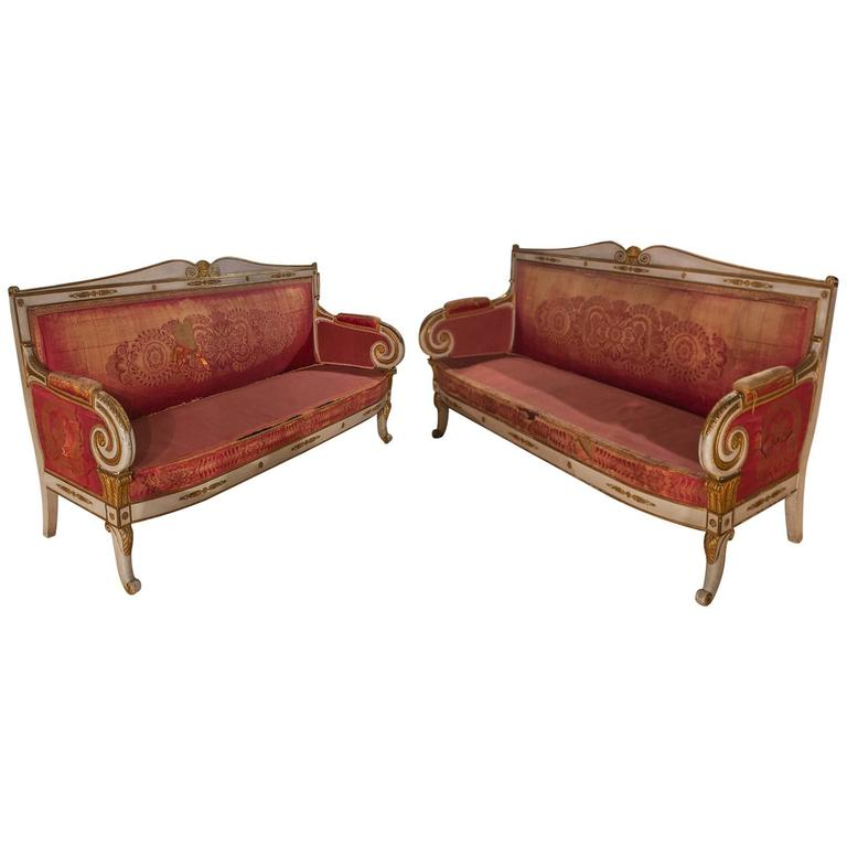 Pair of French Painted and Gilt Sofas 1