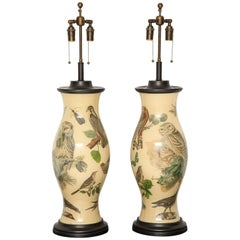 Stunning Pair of Large Decoupage  Lamps