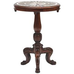 Early 19th Century George III Marble-Top Inlaid Mahogany Table
