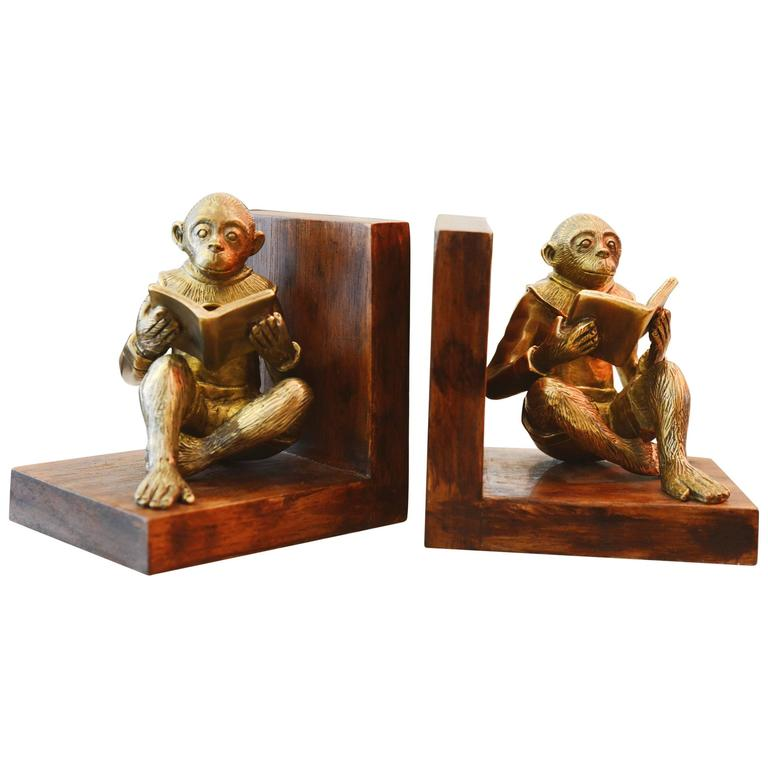 Monkeys Readers Bookends Set of Two in Bronze For Sale
