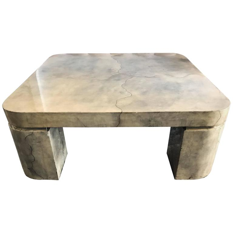 Impressive Lacquered Goatskin Coffee Table After Karl Springer For Sale At 1stdibs