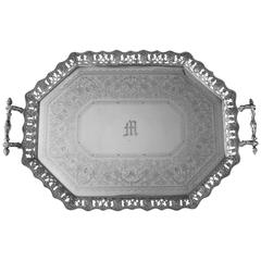 Antique English, Cast Border, Sterling Silver Tray