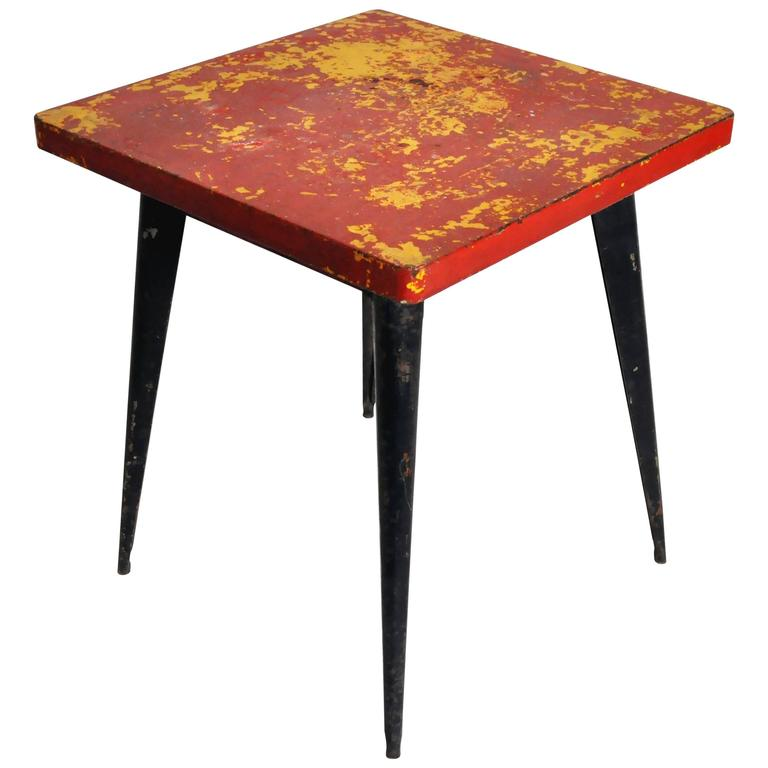 Red metal outdoor cafe table by tolix for sale at 1stdibs for Metal patio tables sale