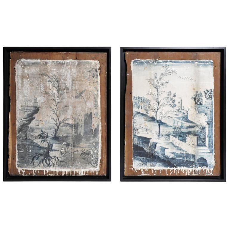 "Pair of ""Boisserie"" Oil Paintings on Oakwood"