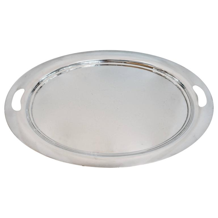 Large Oval Sterling Silver Tray