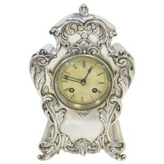 Antique English Sterling Silver Clock