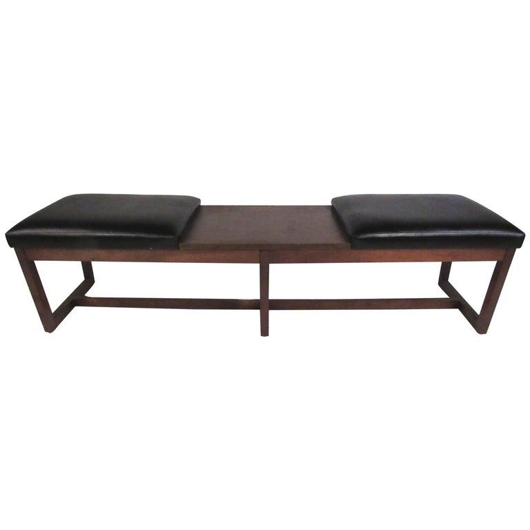 Mid-Century Walnut Two-Seat Platform Bench For Sale