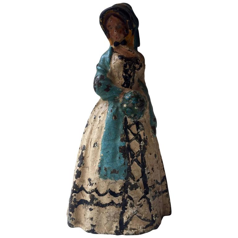 Early 20th Century Antique Cast Iron Woman Door Stop