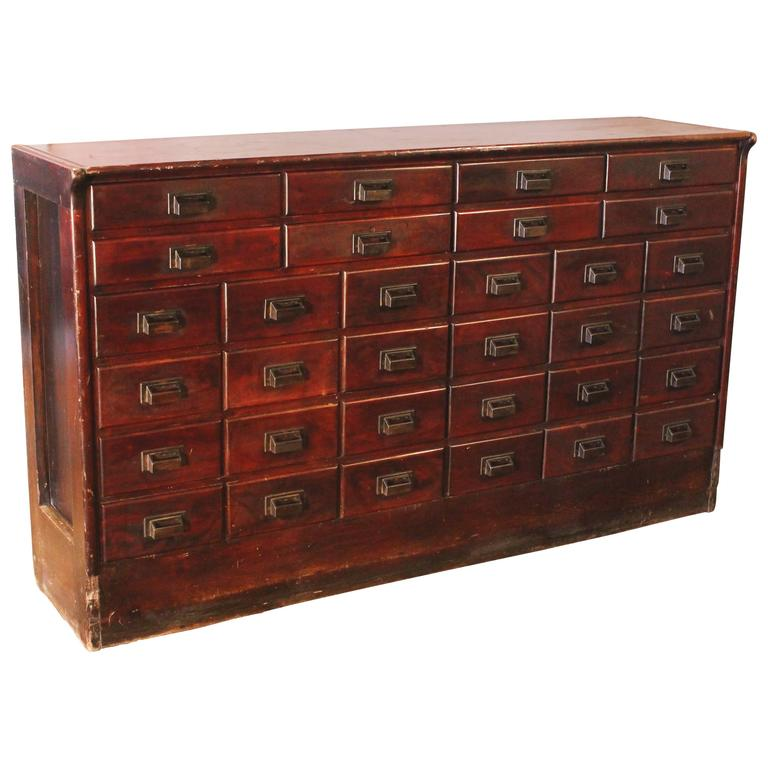 Apothecary Cabinet Vintage Industrial Wood Hardware Multi Drawer Storage Counter For Sale At 1stdibs