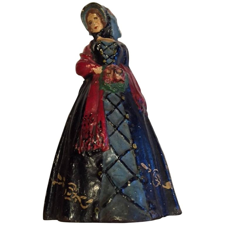 Early 20th Century Antique Cast Iron Woman Door Stop 1 - Early 20th Century Antique Cast Iron Woman Door Stop For Sale At