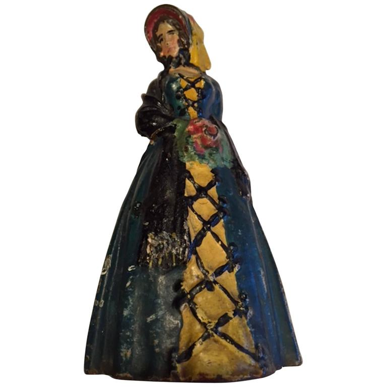 Early 20th Century Antique Cast Iron Woman Door Stop - Early 20th Century Antique Cast Iron Woman Door Stop For Sale At 1stdibs