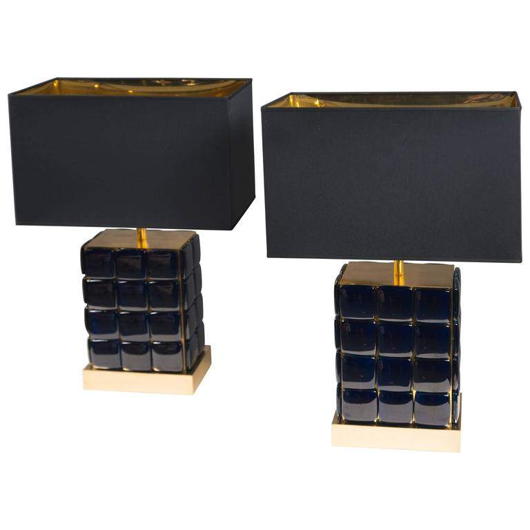 Pair of Dark Blue Glass and Polished Brass Lamps, France, 2015