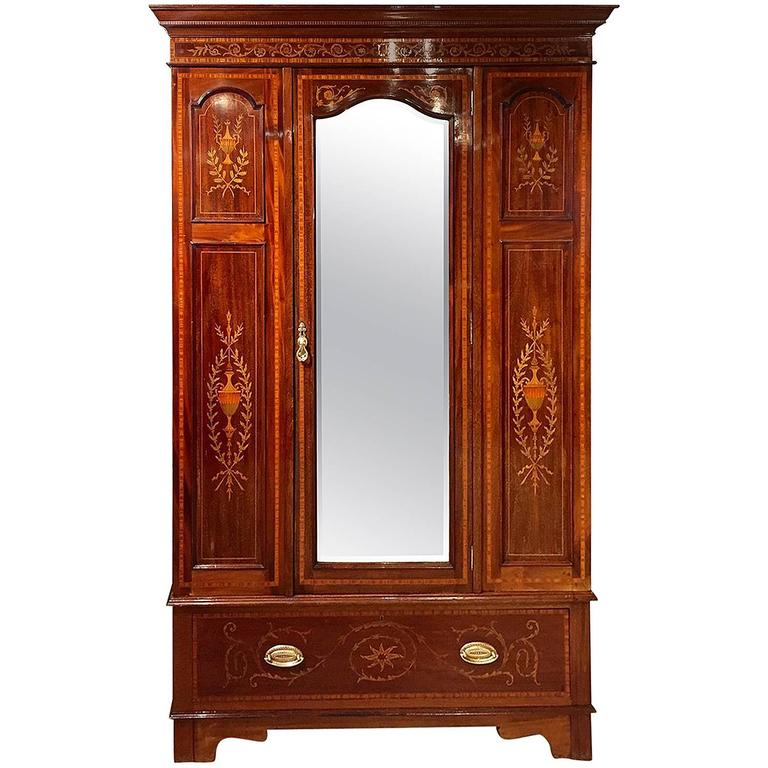 Marquetry Inlaid Edwardian Period Antique Wardrobe At 1stdibs