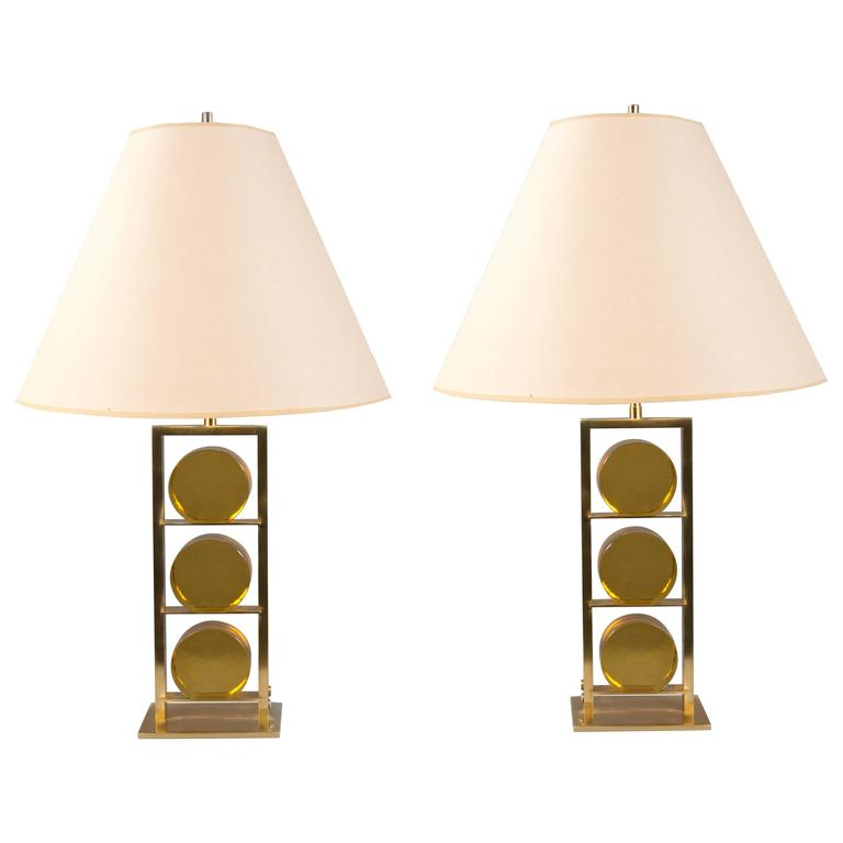 Pair of Glass and Brass Lamps by Roberto Rida, Italy, 2016 1