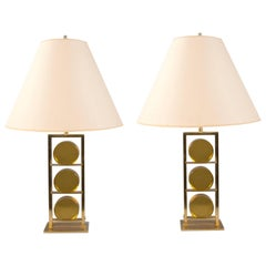 Pair of Glass and Brass Lamps by Roberto Rida, Italy, 2016