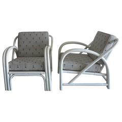 Vintage Rattan Lounge Chairs Painted White