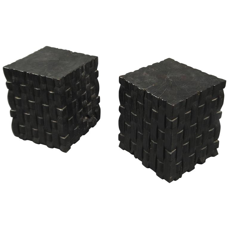 Pair of Oak Cube Tables, France, circa 1960s 1