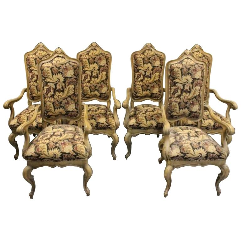 Six Country French Tapestry And Wood Captainu0027s Chairs For Sale