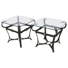 Jacques Adnet Style Iron Side Tables