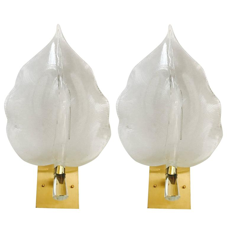 Pair of 1960s Large Murano Glass Sconces