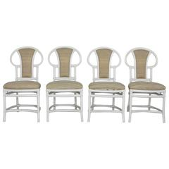 Four Vintage Rattan Dining Chairs Painted White