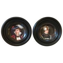 Pair of Porcelain Portrait Plates with Original Frames