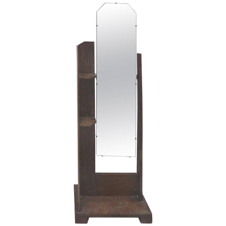 Art Deco Art's & Crafts Cerused Oak Cheval Floor Mirror