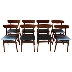 Set of Eight 1960s Danish Modern Teak and Birch Dining Chairs by Farup Mobler