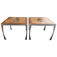 Pair of Artist Made Maple, Petrified Wood and Steel Contemporary Dining Tables