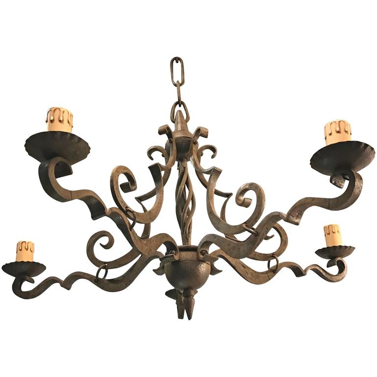 Early 1900 Thick Heavy Hand Forged Wrought Iron Quality Pendant Chandelier