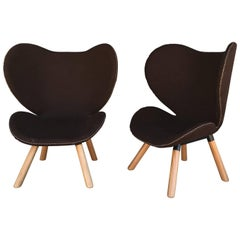 Pair of Mid-Century Modern Denmark Designed Brown Wool Easy Chairs