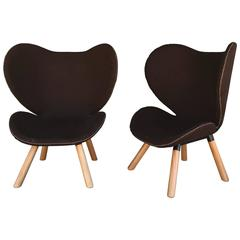 Pair of Mid-Century Modern Denmark Designed Brown Wool Easy Chairs
