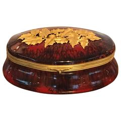 Sevres Red Flambe Holly Motif Box