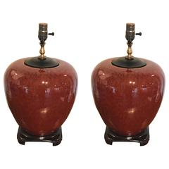 Pair of Fine Sung De Beouf Vases, Now as Lamps