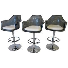 Smoked Lucite and Chrome Swiveling Bar Stools