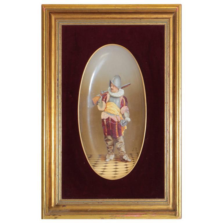 Framed Signed J.B. Hand-Painted Porcelain Plaque with Custom Frame