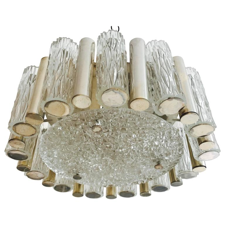 German 1960s High Style Glass Flush Pendant For Sale