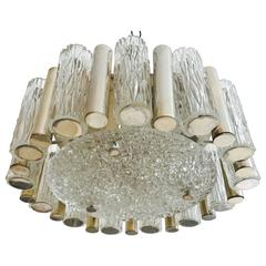 German 1960s High Style Glass Flush Pendant