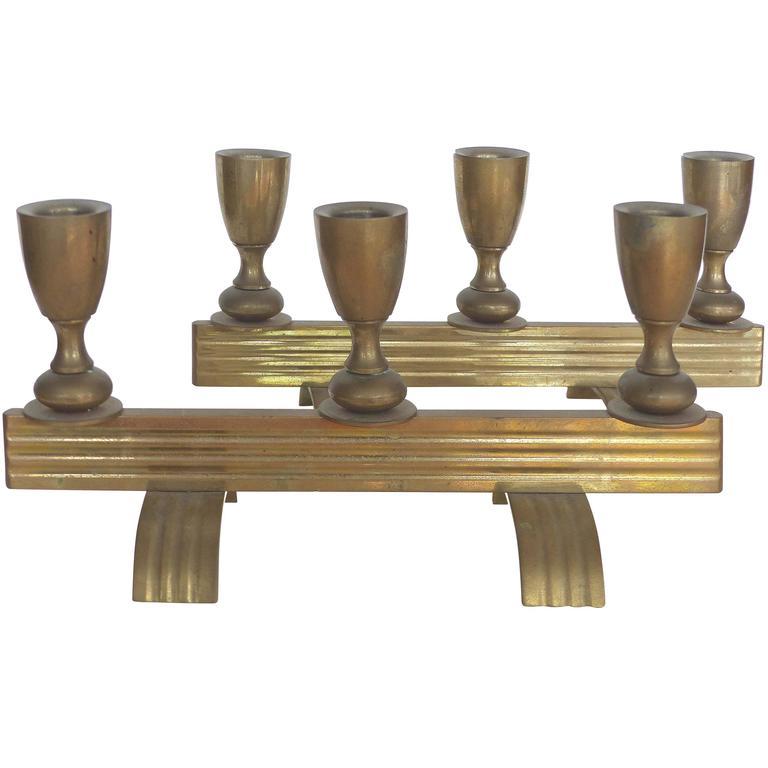 Art Deco Bronze Streamline Candle Holders, a Pair