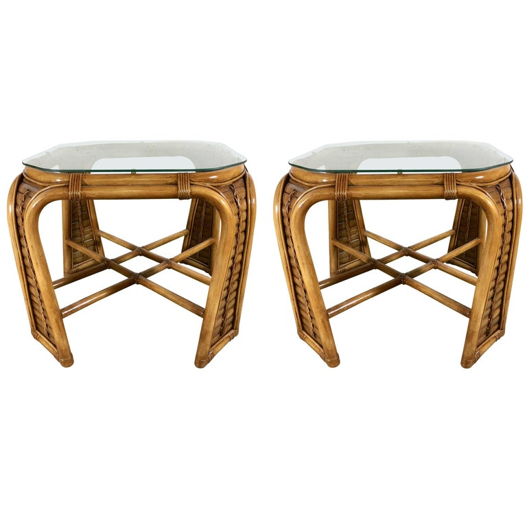 Great Pair of Bamboo End Tables by McGuire, Restored