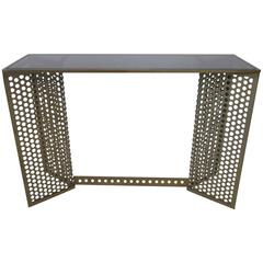 Industrial Styled Perforated Steel and Black Smoked Glass Console Table