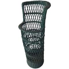 Green Wicker Umbrella Stand
