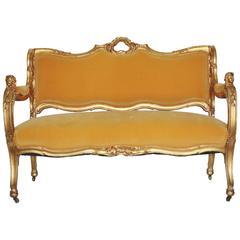 19th Century Art Noveau Settee in Yellow Velvet with Original Gilt Wood Frame