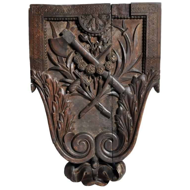 Hand-Carved Crest from a Chateau