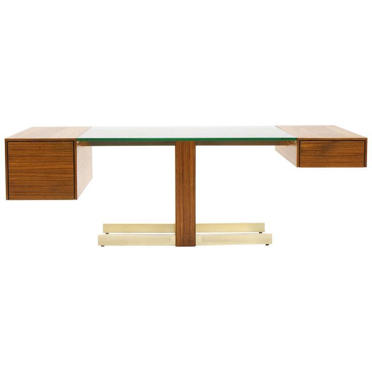Vladimir Kagan Desk, Glass Top, Zebrawood, Brass colored Anodized Aluminium  1