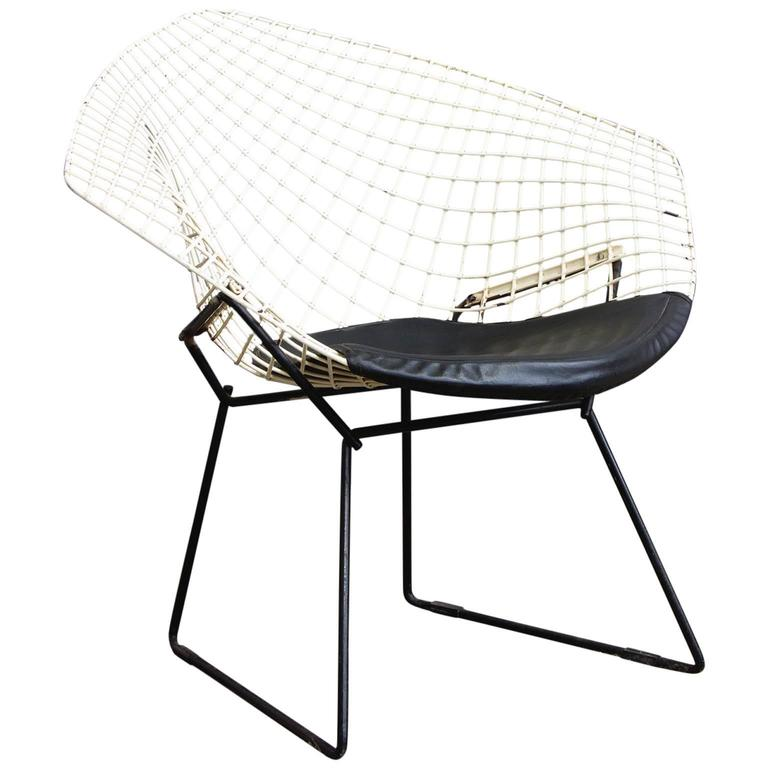 1952, Harrie Bertoia, Diamond Chair 421, Black U0026 White With Black Vinyl  Cushion