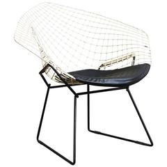 1952, Harrie Bertoia, Diamond Chair 421, Black & White with Black Vinyl Cushion