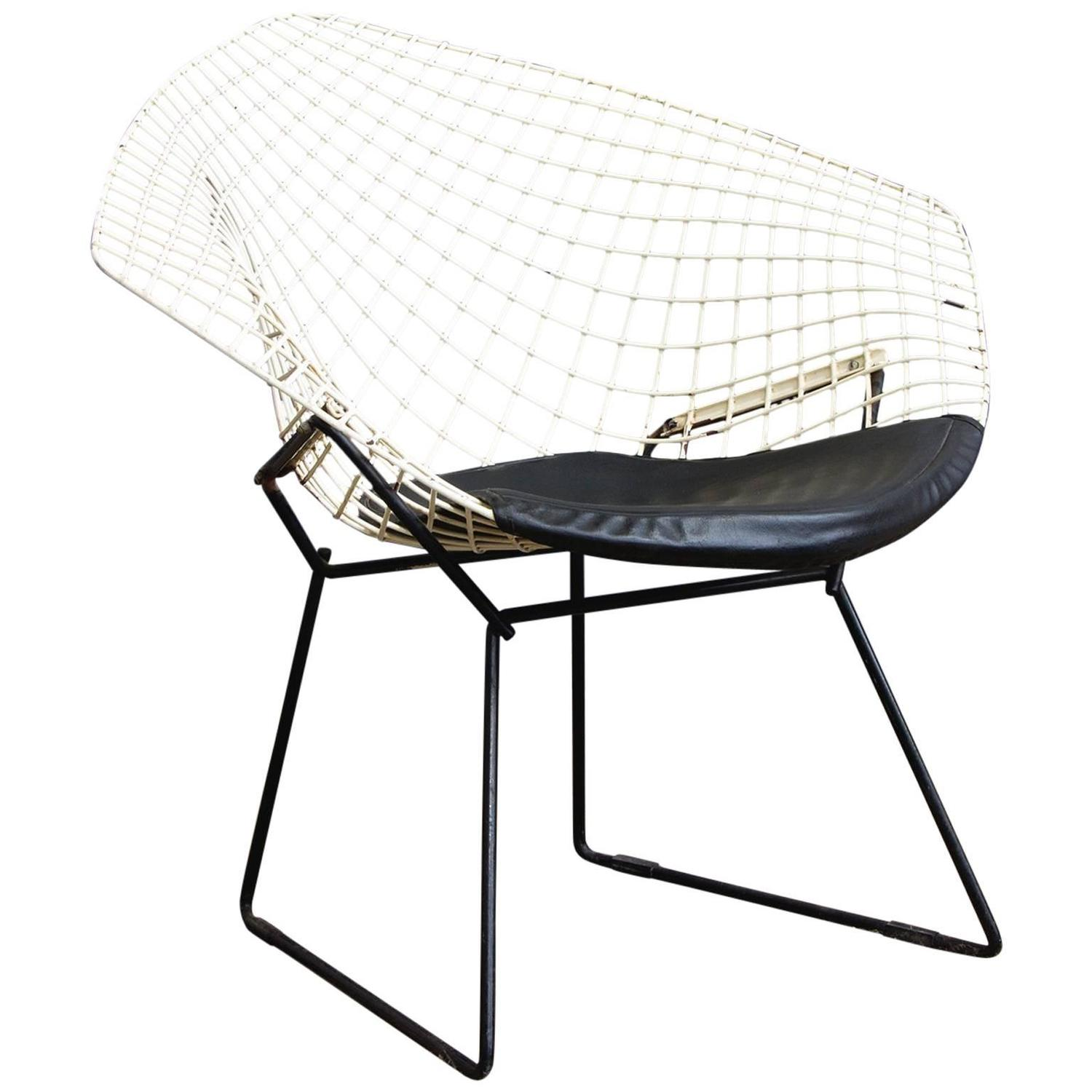 Lovely 1952, Harrie Bertoia, Diamond Chair 421, Black And White With Black Vinyl  Cushion For Sale At 1stdibs